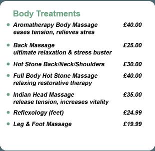 Massage treatment pricelist