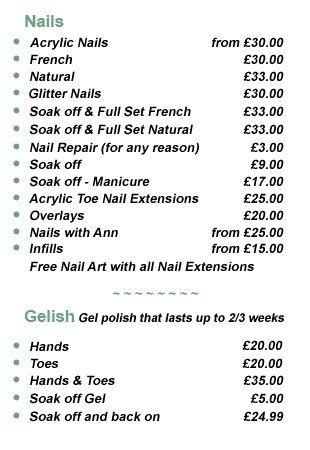 Nails pricelist