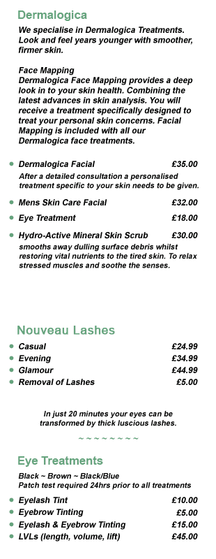 Beauty treatments pricelist