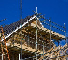 scaffolded house end