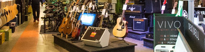 Range of electric-acoustic guitars and amps