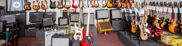 Selection of guitars and amps