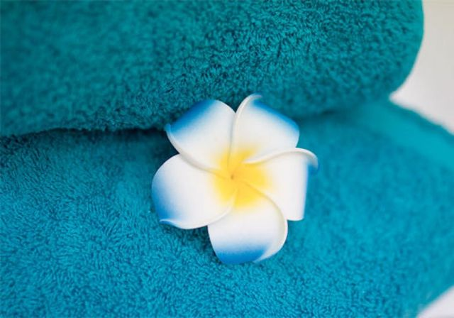 View of a towel used for spa treatment