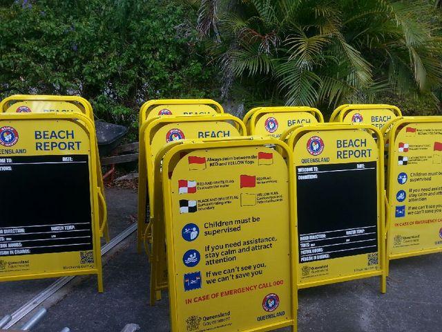 Lifesavers with beach equipment