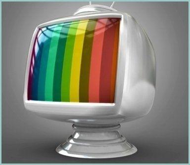 disegno di una tv che trasmette delle immagini multicolore