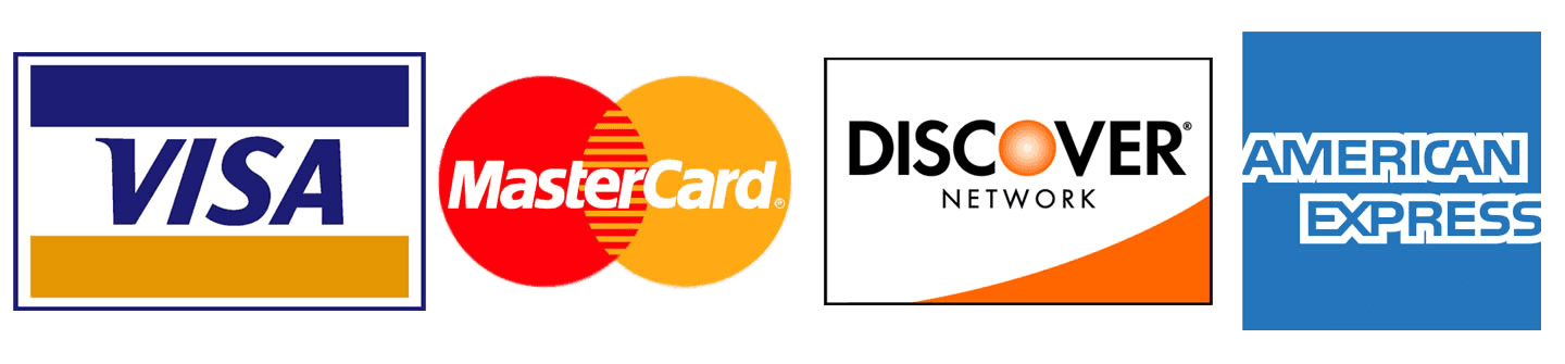 We proudly accept Visa, MasterCard, American Express and Discover card
