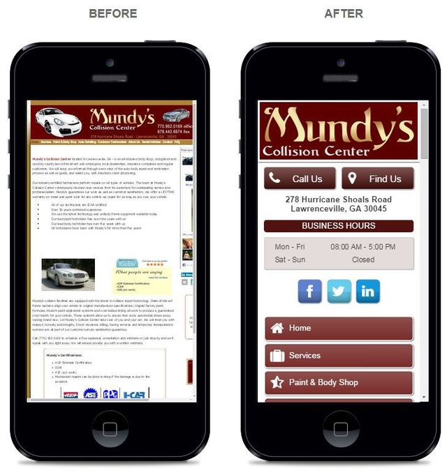 Collision Center Mobile web design preview before and after view