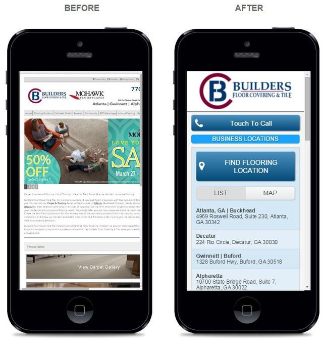 Side-by-side view of before and after mobile web design for Builders For Covering & Tile in Buford Georgia