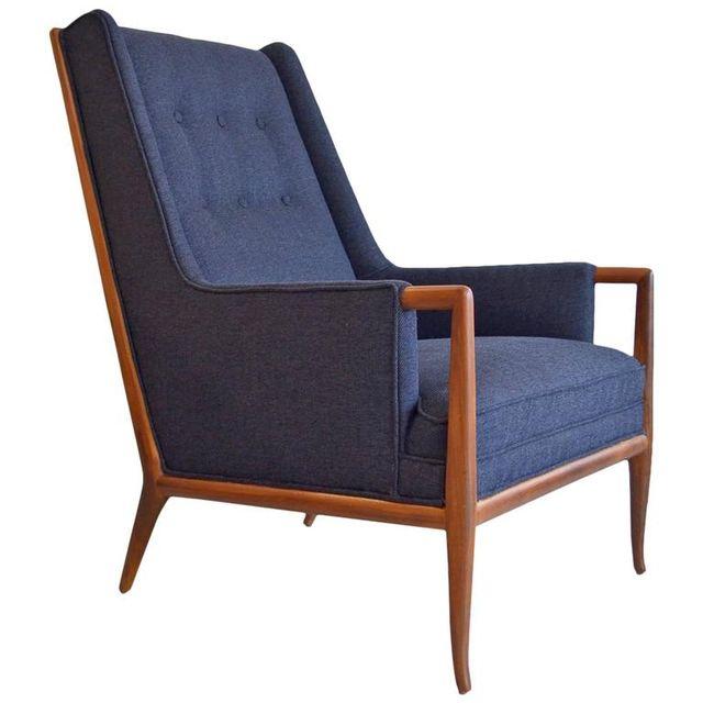 Elegant T.H. Robsjohn-Gibbings Walnut Lounge Chair