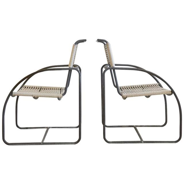 Tubular Bronze Patio Lounge Chairs by Kipp Stewart for Terra of California