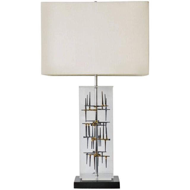 Lucite and Nail Brutalist Lamp by Laurel, ca. 1970