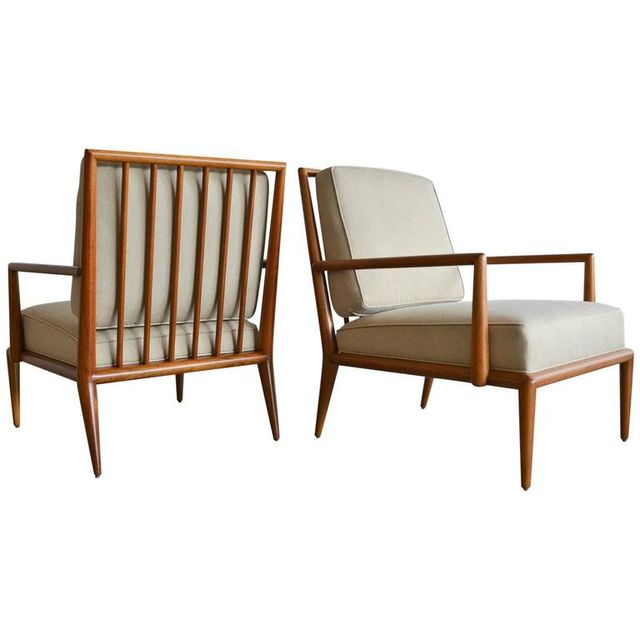 Pair of T.H. Robsjohn-Gibbings Spindle Back Lounge Chairs, ca. 1950
