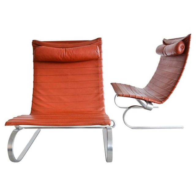 Pair of Poul Kjærholm PK20 Leather Lounge Chairs