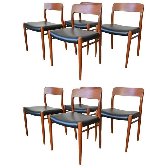 Set of Eight Model 75 Dining Chairs by N.O. Moller