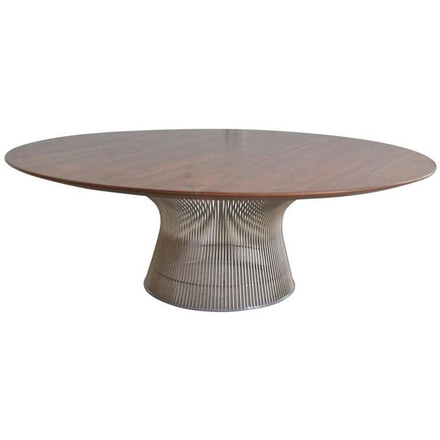 Round Walnut Coffee Table by Warren Platner for Knoll