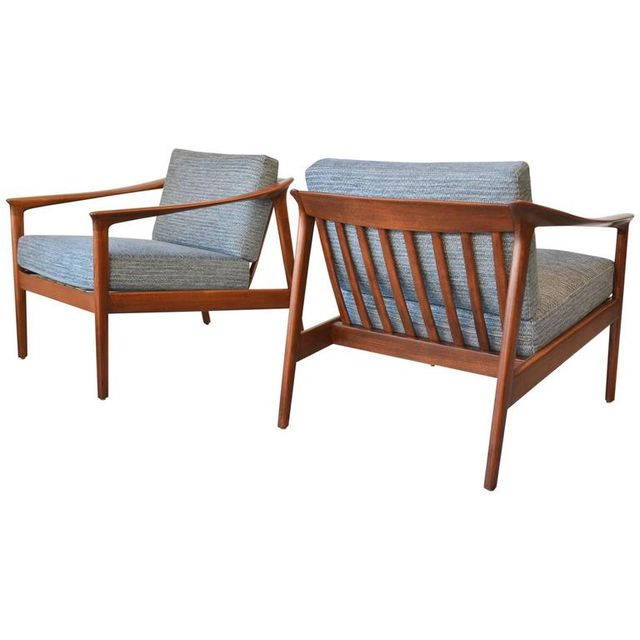Pair of Sculpted Lounge Chairs by Folke Ohlsson for Bodafors Sweden, ca. 1960