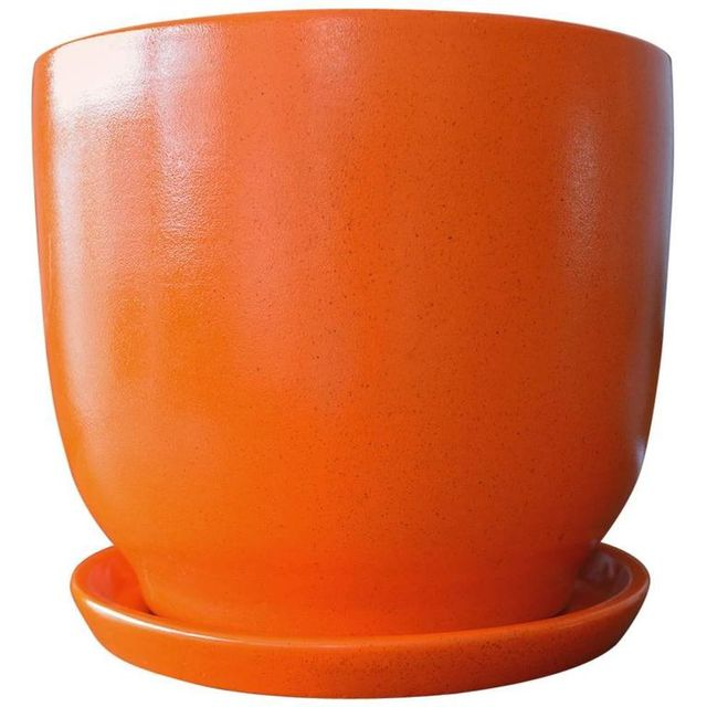 Large Orange Speckle Gainey Ceramic Planter T-17 with Tray