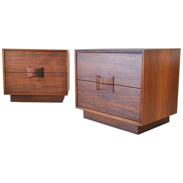 Pair of Walnut Bowtie Front Side Tables or Nightstands by Brown Saltman