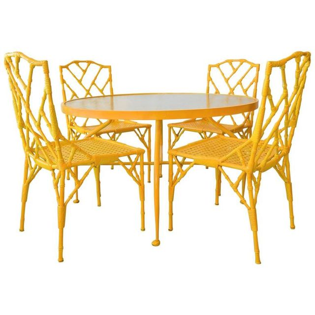 Faux Bamboo Patio Set with Table and Four Chairs by Venemen