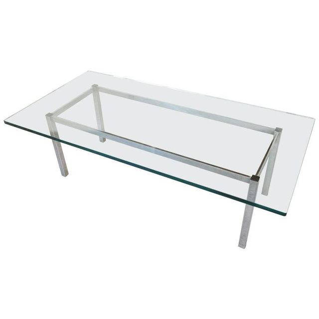 Chrome and Glass Rectangular Coffee Table