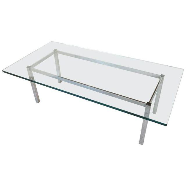Chrome and Glass Rectangular Coffee Table