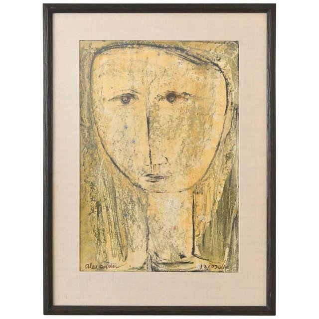 Modernist Portrait Signed Alexander, ca. 1965