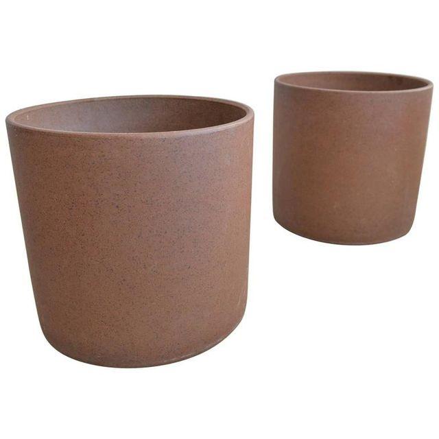 Pair of David Cressey Stoneware Cylinder Planters, ca. 1965