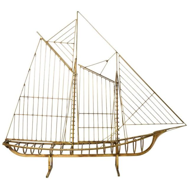 Sculptural Brass Sailboat by Curtis Jere, ca. 1970