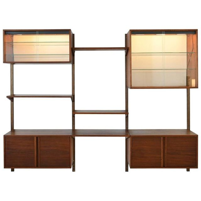 Walnut 3 Bay Wall Unit with Lighted Cabinets, ca. 1970