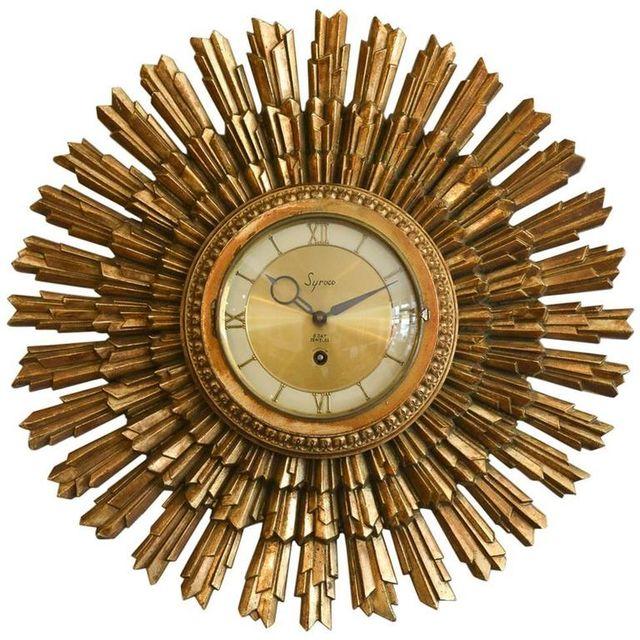 Gold Sunburst Clock by Syroco, ca. 1955