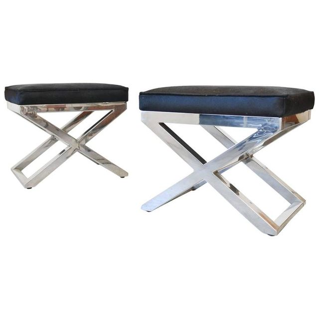 Pair of Chrome X Base Stools with Cowhide Seats