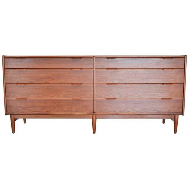 Danish Sculpted 8 Drawer Dresser or Credenza