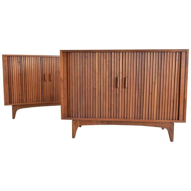 Pair of Walnut Tambour Door Cabinets, circa 1970