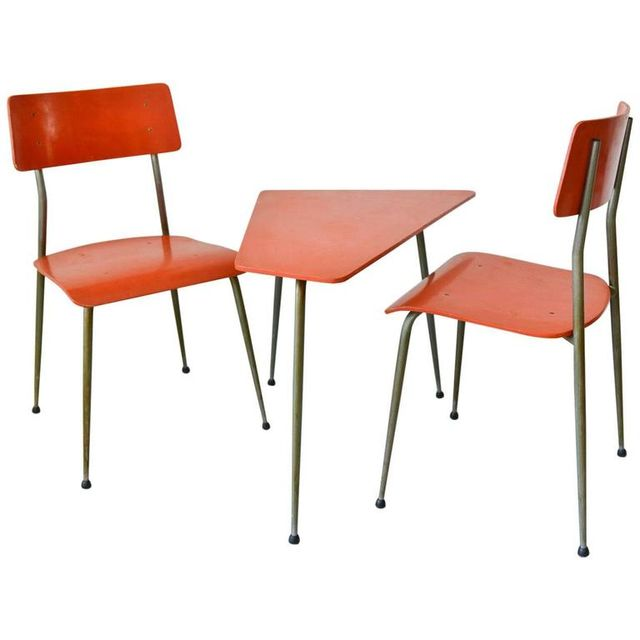Vintage French Child's Table and Chair Set, circa 1950
