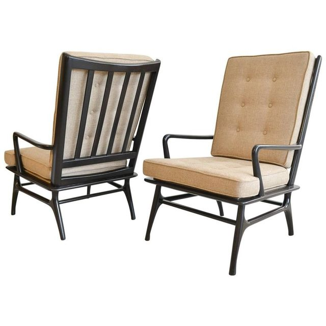 Pair of Sculpted Ebonized High Back Lounge Chairs, ca. 1955