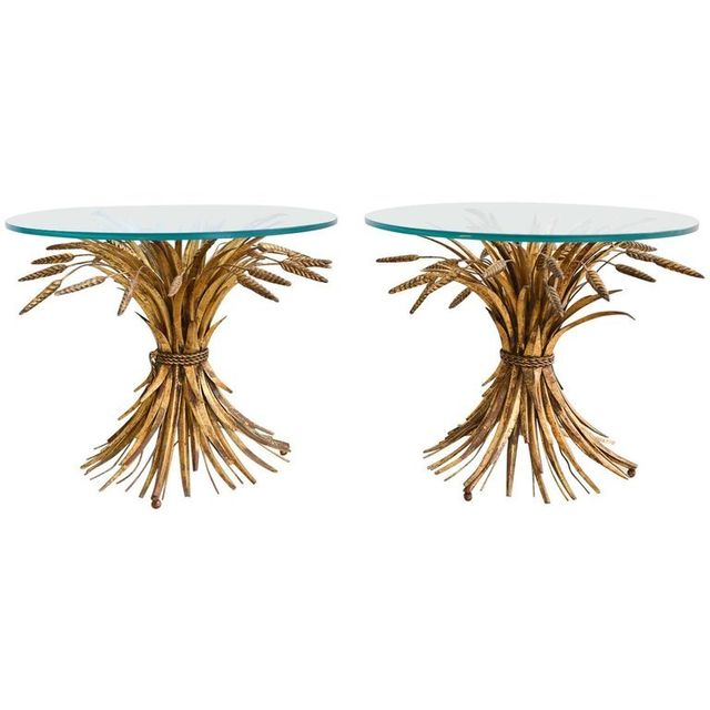 Pair of Gold Gilt Sheaf of Wheat Side Tables, c. 1970