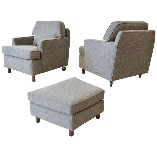 Pair of Edward Wormley for Dunbar Lounge Chairs with Ottoman, c. 1970