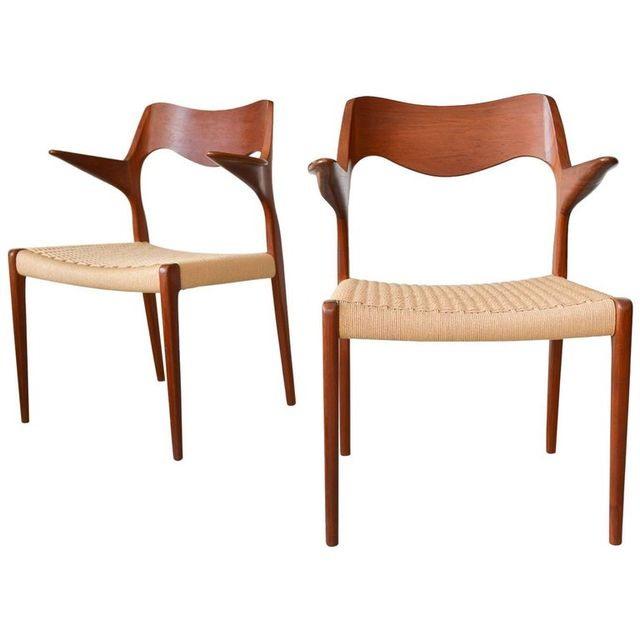 Pair of N.O. Moller Model 55 Teak and Papercord Armchairs, ca. 1965