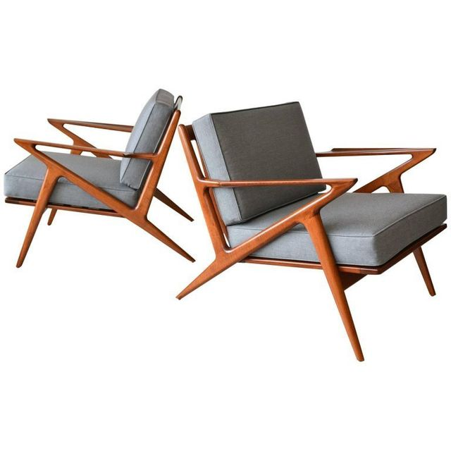 Pair of Original Poul Jensen for Selig 'Z' Chairs, ca. 1960