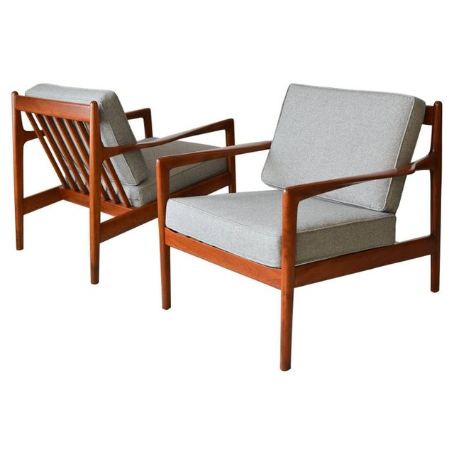 Pair of Walnut Lounge Chairs by Folke Ohlsson for DUX, Sweden, circa 1960
