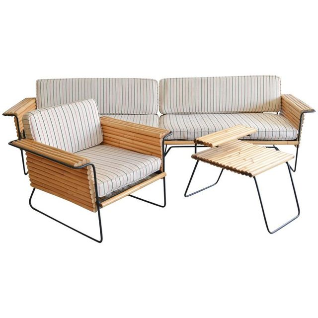 Rattan and Wrought Iron Seating Ensemble by Ritts Co., Los Angeles, ca. 1955