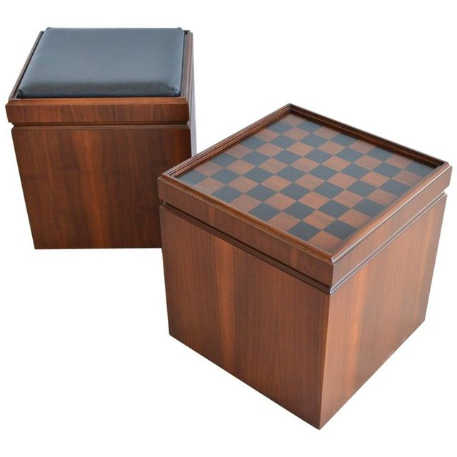Pair of Walnut Game Ottoman or Footstools, ca. 1965