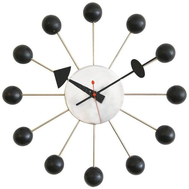Vintage George Nelson Chrome and Black Ball Clock, ca. 1965