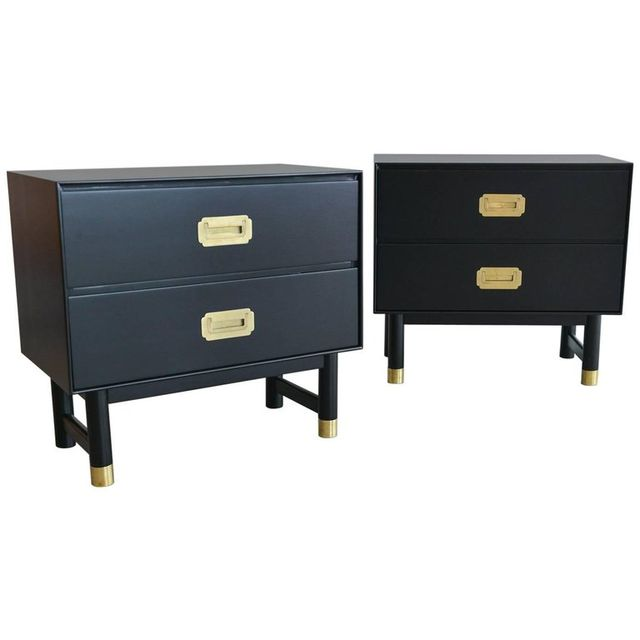 Pair Of Black And Brass Campaign Nightstands, Ca. 1960