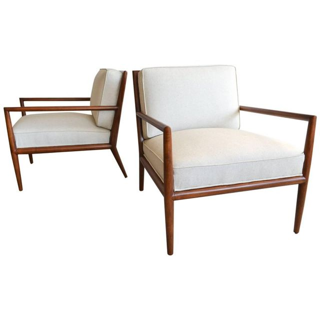 Pair of T.H. Robsjohn-Gibbings Walnut Frame Lounge Chairs, circa 1959
