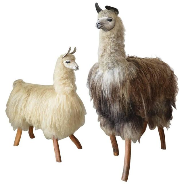 One of a Kind Pair of Handmade Life Size Llama Statues