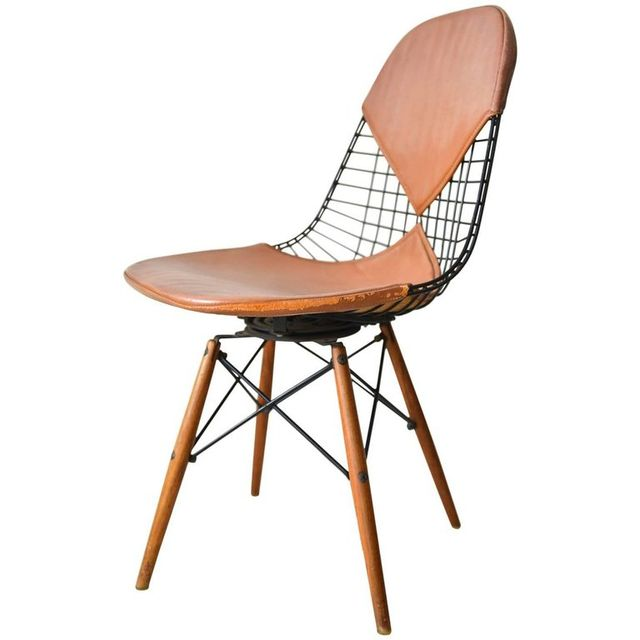 First Generation Eames PKW-2 Wire Chair with Walnut Dowel Legs, ca. 1951