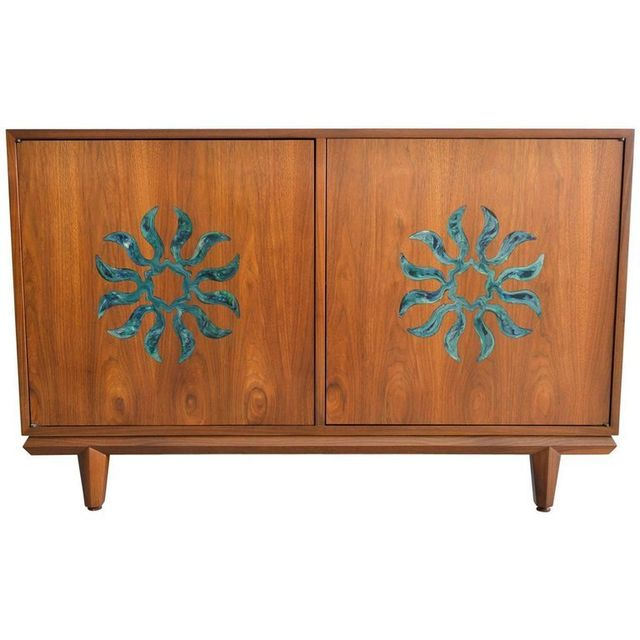 Walnut and Enameled Two Door Cabinet by Cal Mode, ca. 1970