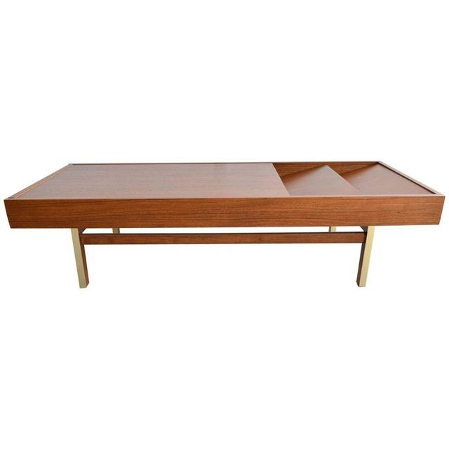Mahogany and Brass Coffee Table by Merton Gershun, ca. 1970