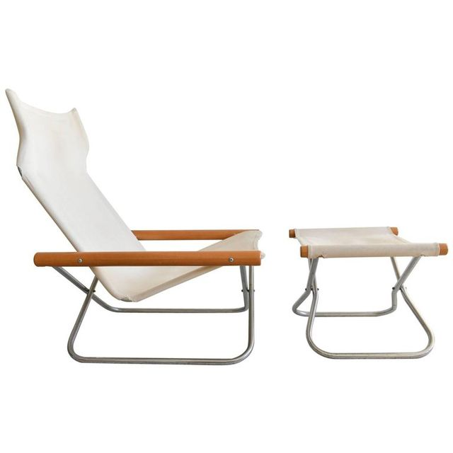 Folding Lounge Chair and Ottoman by Takeshi Nii, ca. 1970